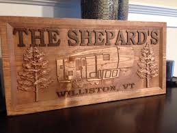 wood carved camper sign 7 pattern choices handmade sign personalized signs outdoor sign nature sign