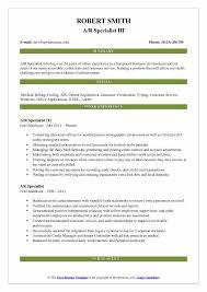 Guidelines For Resume Interesting AR Specialist Resume Samples QwikResume