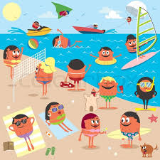 cartoon ilration of busy beach no transparency and grants used stock vector colourbox