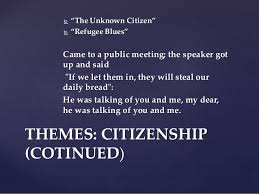 "w h auden s poetry themes themes citizenship 15  ""the unknown citizen"""