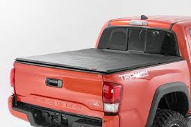 soft tri fold bed cover for 16 17 toyota tacoma rough country suspension systems