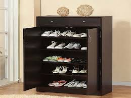 Brilliant Shoe Storage Cabinet Ideas : 5 Shelf Wooden Shoe Cabinet With  Doors