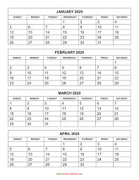 Print Out Calendar Free Download Printable Calendar 2020 4 Months Per Page 3