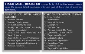 fixed assets format fixed asset register benefits format template how to maintain