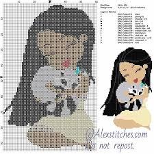 Free Disney Cross Stitch Charts Pocahontas And Meeko Free Disney Cross Stitch Pattern 60x95
