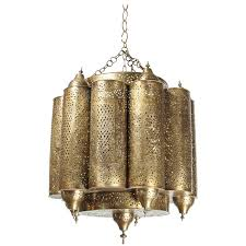 brass moroccan mosque chandelier in the style of alberto pinto for