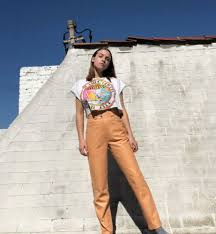 vintage high waisted peach pink leather pants