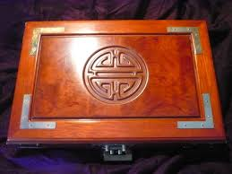 wooden chinese jewellery box with brass chinese lock