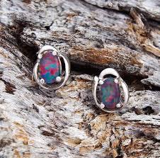 Opal Earrings - Black Star Opal