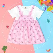 Váy yếm cho bé gái tay bèo Mamago in hoa M19 (Hồng) - Kids Plaza