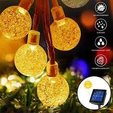 50 led solar string lights globe outdoor waterproof solar powered garden lights crystal ball
