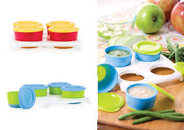 nuby garden fresh 4pk fresh food snack pots in tray
