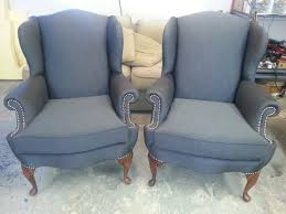 matching wing chairs nailhead trim upholstery portland