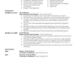 Resume For Social Worker Example Of Social Work Resume Resume