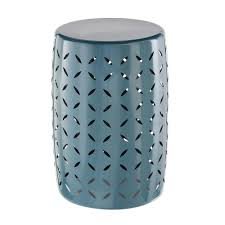 hampton bay metal garden stool with geo pattern in charleston hd17072k the home depot