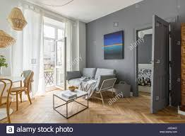 Living Room Balcony Door Design Scandi Style Gray Living Room With Balcony Door Stock Photo