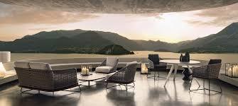 minotti outdoor furniture. Contemporary Sofa / Garden Fabric Wood RIVERA Minotti Outdoor Furniture