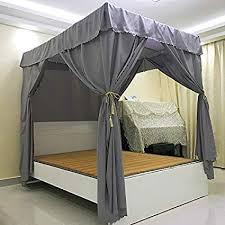 Amazon.com: Mengersi Solid Four Corner Post Bed Curtain Canopy ...