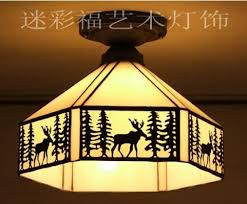 Tiffany Nordic Forest Elk Ceiling Light Stained Glass Lampshade Kitchen  Lighting E27 110 240V(