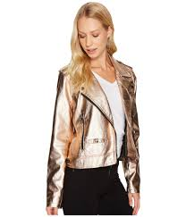blank nyc metallic moto jacket in rose gold fitted faux leather moto jacket with some