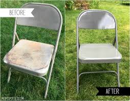 diy spray painted metal folding chairs