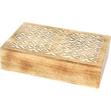 white washed mango wood. Box Jewellery W/Insert Flower/Diamonds Mango Wood White Washed C