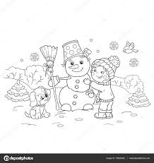 Kleurplaat Pagina Overzicht Van Cartoon Jongen Sneeuwpop Met Hond