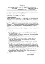 Pet Addendum Template For Residential Lease Agreement Printable Pdf ...