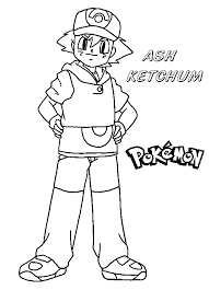Small Picture Ash Ketchum Pokemon Coloring Page To Print And Free Download
