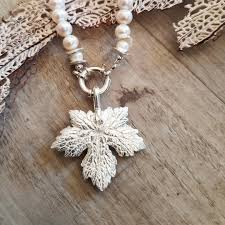 sterling silver maple leaf pendant and