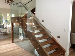 ... Stairs, Surprising Glass Railing Cost Indoor Glass Railing Systems Glass  Railing With Brown Woods: