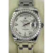 mens pre owned rolex platinum pearlmaster meteorite dial pre owned rolex mens platinum pearlmaster day date diamond bezel and meteorite dial