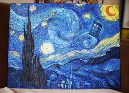 doctor who van gogh style starry night with tardis by holymaryofcakes