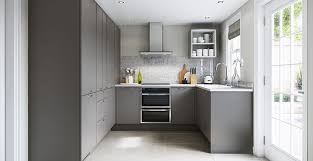 deep gray painted high gloss flat panel small contemporary kitchen cabinets white laminate countertop stainless steel traditional pull down faucet porcelain