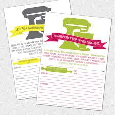 Kitchen Shower Kitchen Bridal Shower Invitations With Detachable Recipe Card