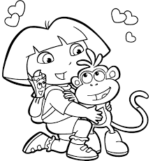 the explorer printable coloring pages dora for