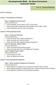 lesson factoring polynomials topic 1 factoring trinomials learning objectives factor trinomials with a leading