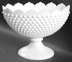 hobnail milk glass 9 oval footed bowl by fenton replacements ltd