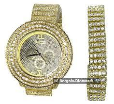 mens watch bracelet set gold tone techno cz iced out clubbing mens watch bracelet set gold tone techno cz iced out clubbing