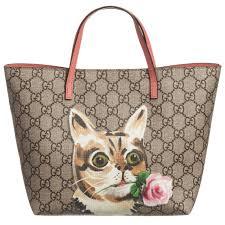 gucci bags kids. gucci - girls beige \u0027gg\u0027 canvas \u0026 leather \u0027cat\u0027 tote bag (21cm) | childrensalon bags kids