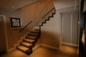 Mesmerizing Glass Staircase Lighting Decors Added Grey Wall Painted Also  Grey Carpet Runner Ideas