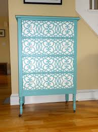 stenciling furniture ideas. Creative Idea:Rectangle Blue Modern Wooden Drawer With Stencil Decor On Brown Wood Flooring Make Stenciling Furniture Ideas N
