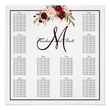 Burgundy Floral Wedding Seating Chart Monogram