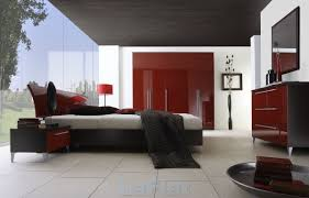 Bedroom:Country Style Black And Red Bedroom With White Bed Sheet And Dark  Brown Canopy