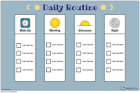 Daily Routine Chart Storyboard By Poster Templates