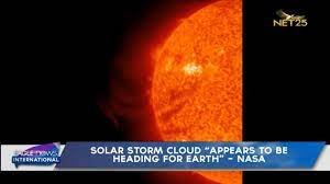 """Solar storm cloud """"appears to be ..."""
