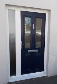 blue finish composite door with stainless steel furniture and side panel