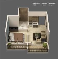 appartement studio avec un plan original qui comprend deux balcons