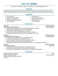 choose sample resume caregiver