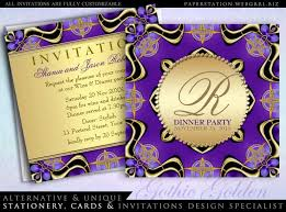 Black And Purple Invitations Black Purple Gold Gothic Dinner Party Invitations Template